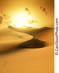 Gold desert. Sunset. - Gold desert in sunset. Canary...