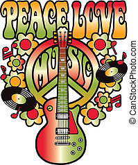 Peace-Love-Music - Retro-style type design of Peace, Love...