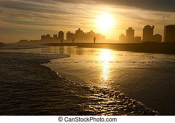 暖かい, 夕方, 浜
