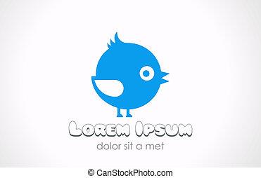 Logo little funny fat bird abstract Children fun concept -...