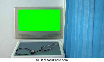 medical room monitor closeup concept 3d render