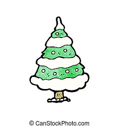 cartoon snowy christmas tree