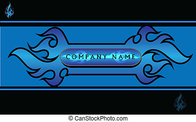 Blue Flame Design - Blue and black flame design for any...