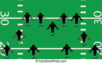 Football Defense - Illustration of defensive side of...
