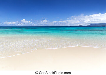 White coral beach sand and azure indian ocean - Praslin...