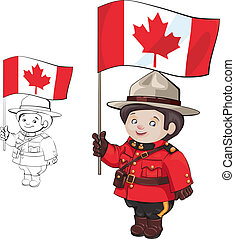 cute cartoon canadian Mounties with a flag of Canada in...