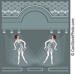 two flapper girls on art deco background