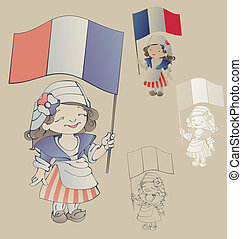 cute smiling cartoon girl in sans culottes costume for...