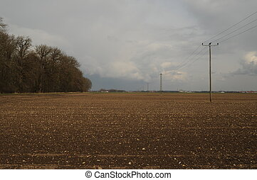 Landscape 024 - A view over fields before heavy wheather.