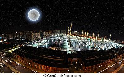 Prophet Mosque in panoramic night - Prophet's Mosque in...