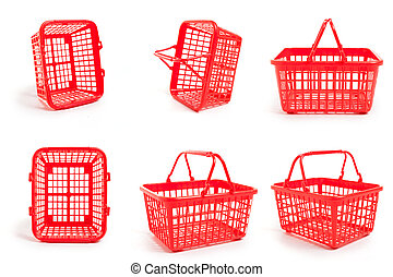 Empty Shopping Baskets - Six empty red shopping baskets...