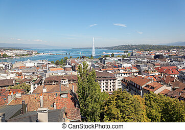 The city of Geneva in Switzerland, a aerial view - The city...