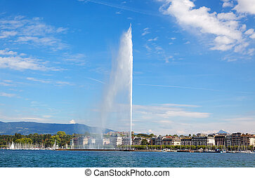 Geneva water jet on Lake Leman at summer - Geneva water jet...