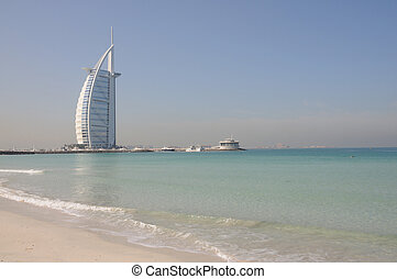 Jumeirah Beach and Hotel Burj Al Arab in Dubai