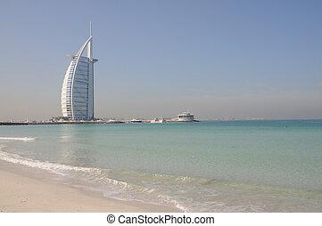 Jumeirah Beach and Hotel Burj Al Arab in Dubai