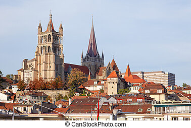 City landscape of Lausanne in the west of Switzerland - City...