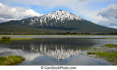 Mount Bachelor Reflection - Reflection of Mount Bachelor in...
