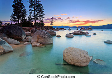Lake Tahoe beach - Lake Tahoe after sunset