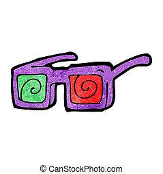 caricatura, X, rayo, anteojos