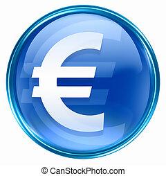 Euro icon blue, isolated on white background