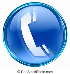 phone icon blue, isolated on white background