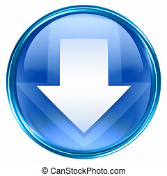 Arrow down icon blue - Arrow icon blue, isolated on white...