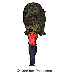 cartoon teen girl with big hair