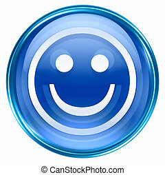 Smiley Face blue, isolated on white background