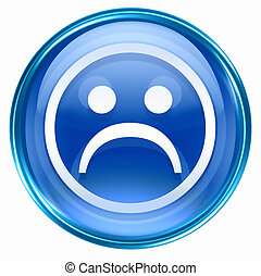 Smiley Face, dissatisfied blue, isolated on white...