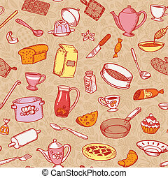 Kitchen Cooking Seamless Pattern