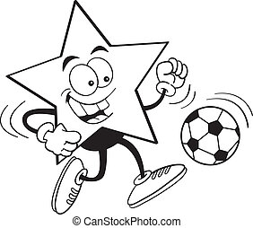 Cartoon star playing soccer - Black and white illustration...