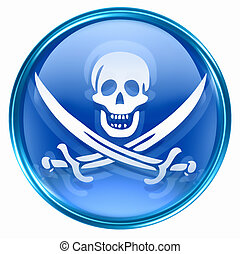 Pirate icon blue, isolated on white background