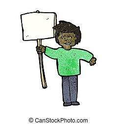 cartoon political protester