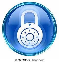 Lock off, icon blue, isolated on white background