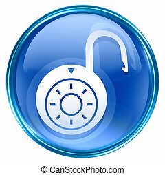 Lock on, icon blue, isolated on white background
