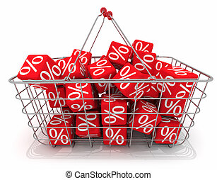 Discount - Shopping basket with red cubes