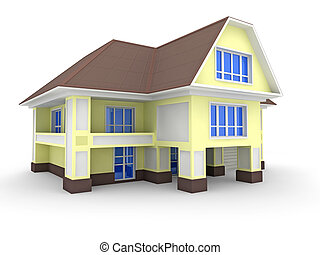 Townhouse - 3D model of the townhouse on white
