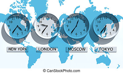 Clocks - Timezone clocks showing different time