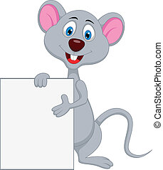 funny mouse cartoon with blank sign
