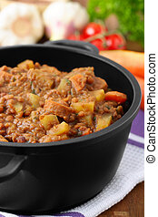 lentil stew - Fresh lentil stew with sliced weenies