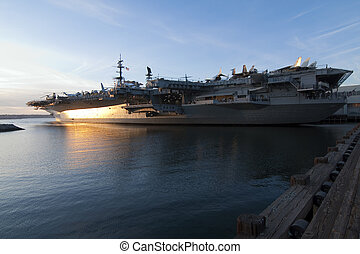 USS Midway. - USS Midway sitting in San Diego bay.