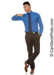 Asian business man - Chinese business man wearing blue shirt...