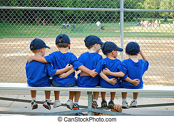 i love my team - five little boys put their arms around each...