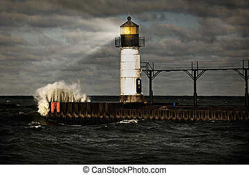 Lighthouse and stormy sea - a light house lights the way...