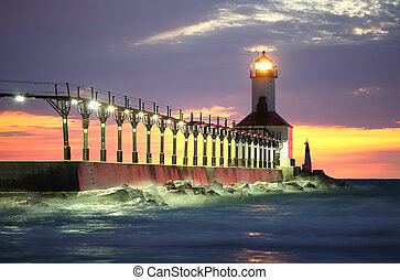 Michigan City Lighthouse, Michigan City, Indiana - a close...
