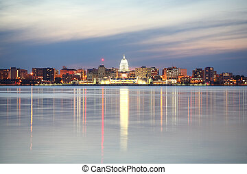 Skyline of Madison Wisconsin at dusk - the Madison Wisconsin...