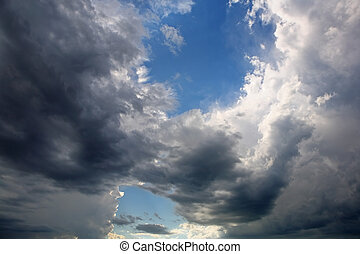 A break in the Storm - a whirling cloud formation overhead...