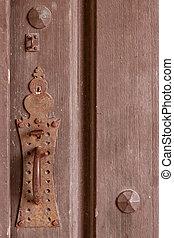 Vintage door plate - Close up shot of rusty old door plate...