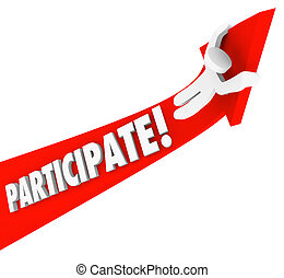 Participate Arrow Person Riding Participation to Success -...