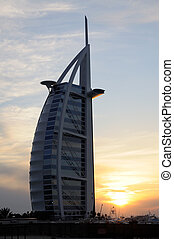 Burj Al Arab in Dubai at sunset, United Arab Emirates